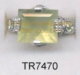 10K White Gold Ring Prenite + Peridot and White Diamond  - TR7470