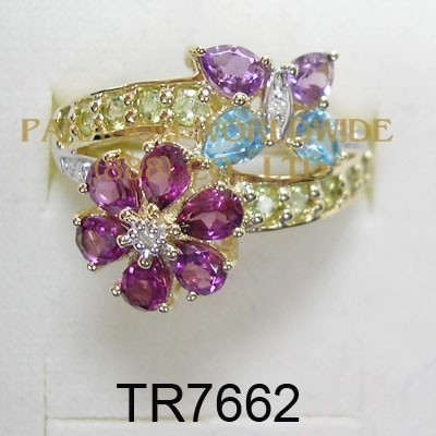 10K Yellow Gold Ring  Multi and White Diamond - TR7662