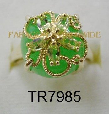 10K Yellow Gold Ring Green Jade and Peridot - TR7985