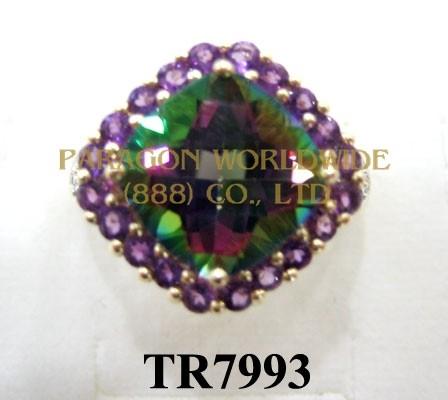 10K Yellow Gold Ring  Mystic Topaz + Amethyst and White Diamond  - TR7993