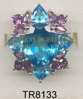 10K White Gold Ring  Light Swiss Blue Topaz and Rhodolite - TR8133