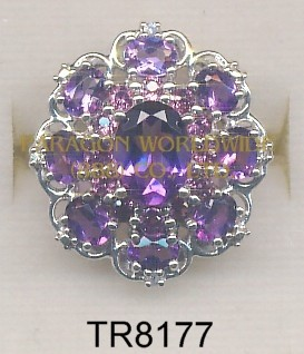 10K White Gold Ring  Amethyst + Rhodolite and White Diamond - TR8177