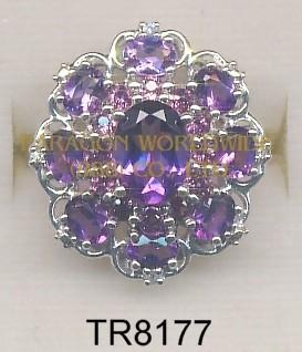 10K White Gold Ring  Amethyst + Rhodolite and White Diamond - TR8177