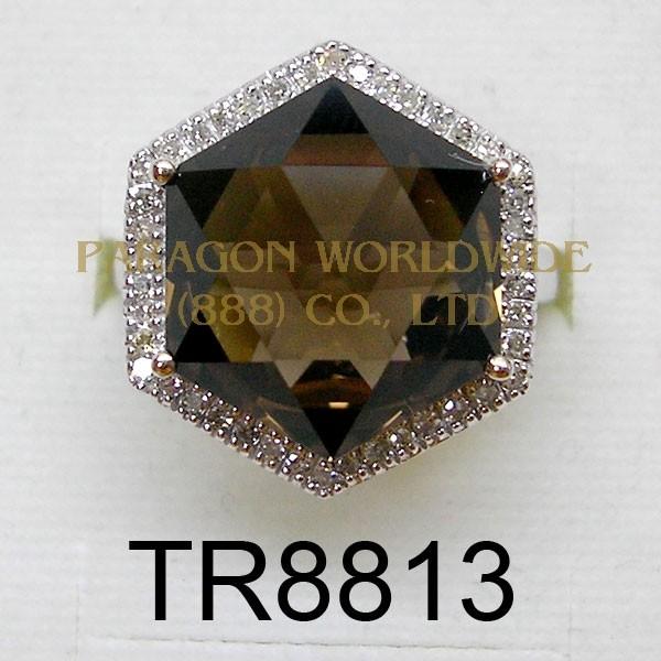 10K White Gold Ring  Smoky Quartz and White Diamond - TR8813