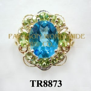 10K White Gold Ring  Light Swiss Blue Topaz + Peridot and White Diamond - TR8873
