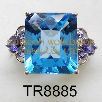 10K  White Gold Ring Light Swiss Blue Topaz+Iolite  - TR8885