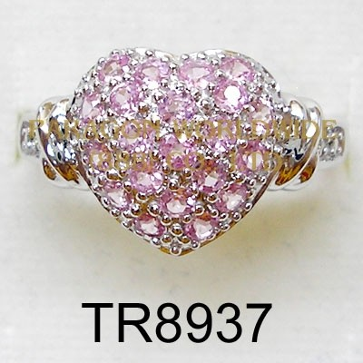 10K White Gold Ring  Created Pink Sapphire and White Diamond - TR8937