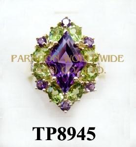 10K Yellow Gold Ring  Amethyst+Peridot and White Diamond - TR8945