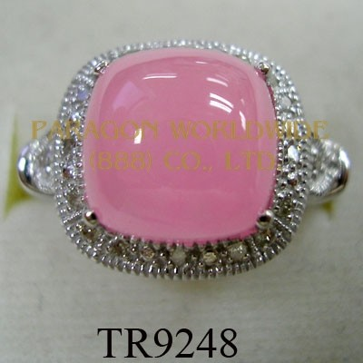 10K White Gold Ring  Pink Jade and White Diamond - TR9248