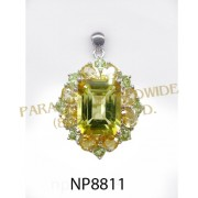 925 Sterling Silver Pendant Citrine and Peridot - NP8811