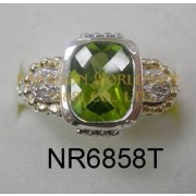 925 Sterling Silver & 14K Ring Peridot and White diamond - NR6858T