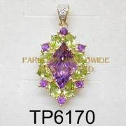 10K Yellow Gold Pendant  Amethyst+Peridot and White Diamond - TP6170