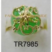 10K Yellow Gold Ring Green Jade and Peridot - TR7985