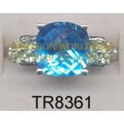10K White Gold Ring  Light Swiss Blue Topaz + Peridot and White Diamond - TR8361