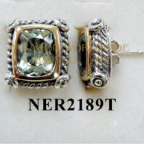 925 Sterling Silver & 14K Earrings Green Amethyst - NER2189T