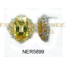 925 Sterling Silver Earrings Citrine and Peridot - NER5899