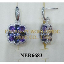 925 Sterling Silver Earrings Amethyst + Iolite and White Topaz - NER6683