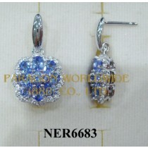 925 Sterling Silver Earrings Tanzanite and White Topaz - NER6683