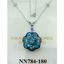925 Sterling Silver Necklace Light Swiss Blue Topaz - NN784