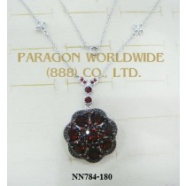925 Sterling Silver Necklace Garnet - NN784
