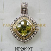 925 Sterling Silver & 14K Pendant  Lemon Quartz - NP2899T