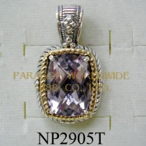 925 Sterling Silver & 14k Pendant  Pink Amethyst - NP2905T