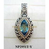 925 Sterling Silver &14K Pendant  Sky Blue Topaz - NP2951T