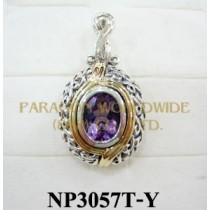 925 Sterling Silver & 14K Pendant   Amethyst - NP3057T