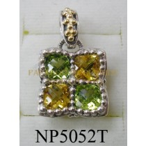 925 Sterling Silver & 14K Pendant  Peridot and Citrine - NP5052T