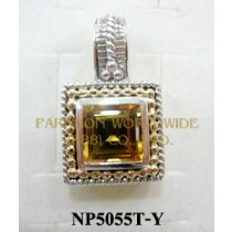 925 Sterling Silver & 14K Pendant  Citrine - NP5055T