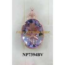 925 Sterling Silver Pendant  Pink Amethyst - NP7394BV