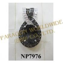 925 Sterling Silver Pendant  Smoky Quartz and White Diamond - NP7976