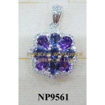 925 Sterling Silver Pendant  Amethyst + Iolite and White Topaz - NP9561