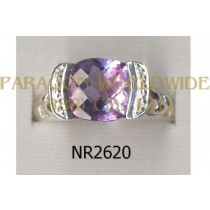925 Sterling Silver Ring Amethyst and White Diamond - NR2620