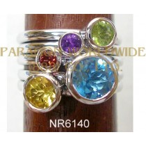 925 Sterling Silver Ring Multi Color - NR6140