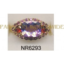 925 Sterling Silver Ring Pink Amethyst + Garnet and Pink Tourmarine - NR6293