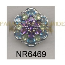 925 Sterling Silver Ring Light Swiss Blue Topaz + Amethyst and Peridot  - NR6469