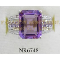 925 Sterling Silver Ring Amethyst and White Diamond - NR6748