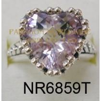 925 Sterling Silver & 14K Ring Pink  Amethyst - NR6859T