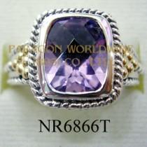 925 Sterling Silver &14K Ring Amethyst - NR6866T