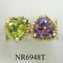925 Sterling Silver &14K Ring Amethyst and Peridot - NR6948T