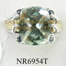 925 Sterling Silver &14K Ring Green Amethyst - NR6954T
