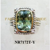 925 Sterling Silver & 14K Ring Green Amethyst - NR7172T