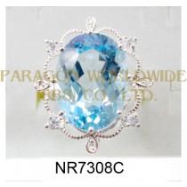 925 Sterling Silver Ring Sky Blue Topaz + White Topaz and White Diamond - NR7308C