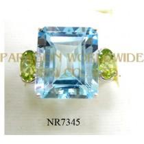 925 Sterling Silver Ring Sky Blue Topaz + Peridot - NR7345