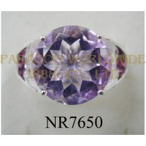 925 Sterling Silver Ring Pink Amethyst + Rhodolite - NR7650