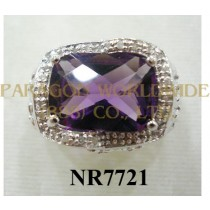 925 Sterling Silver Ring Amethyst and White Diamond - NR7721