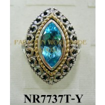 925 Sterling Silver & 14K Ring Sky Blue Topaz - NR7737T