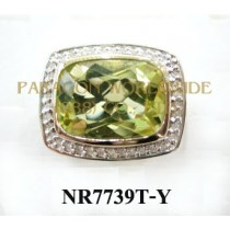 925 Sterling Silver & 14K Ring Green Gold and White Diamond - NR7739T