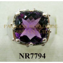 925 Sterling Silver Ring Amethyst - NR7794